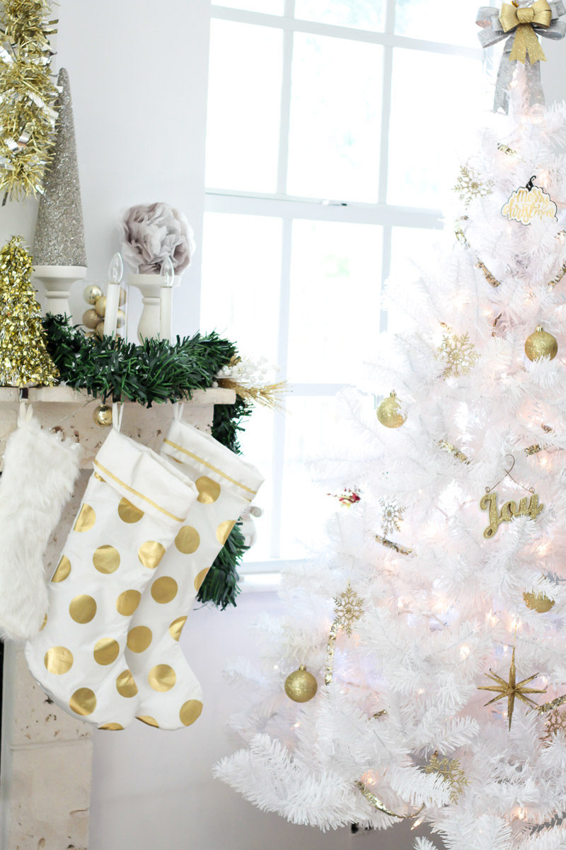 White and gold polka dot stockings and ideas for stocking stuffers