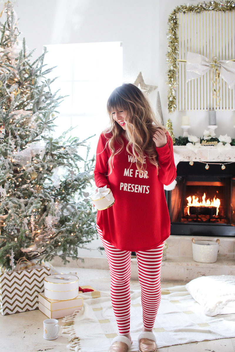 Miami fashion blogger Stephanie Pernas wearing cute Christmas pajamas from Target