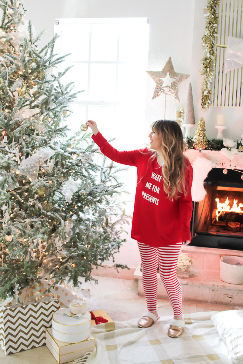 Miami fashion blogger Stephanie Pernas wearing cute Target Christmas pajamas