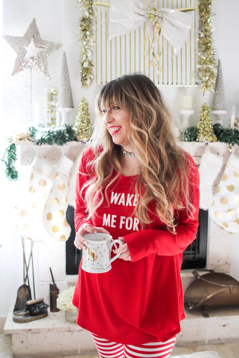 Miami fashion blogger Stephanie Pernas wearing Wake Me For Presents pajamas from Target