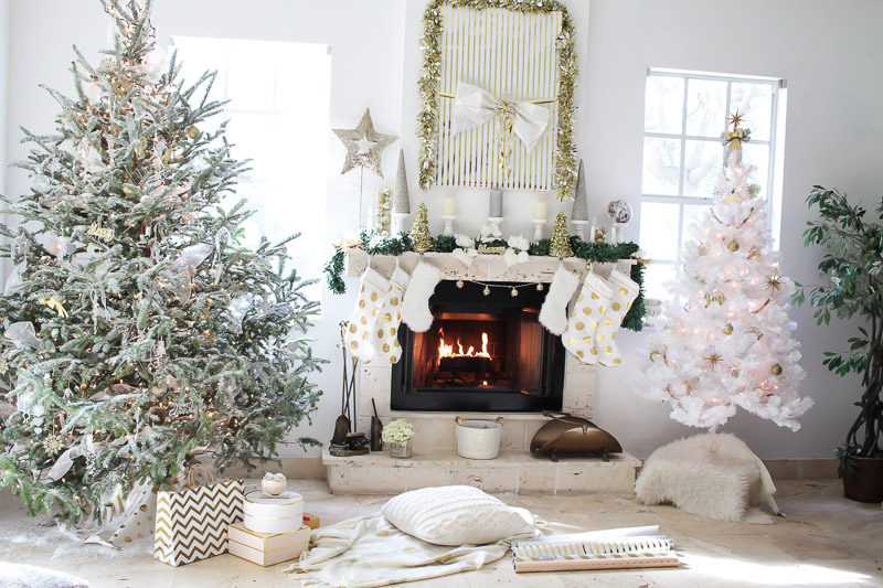 pretty white gold and silver holiday decor