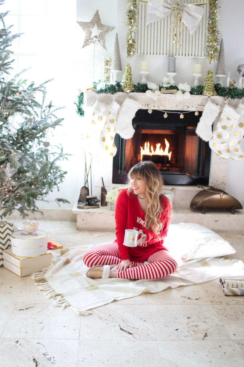 Miami fashion blogger Stephanie Pernas wearing Wake Me For Presents Christmas pajamas from Target