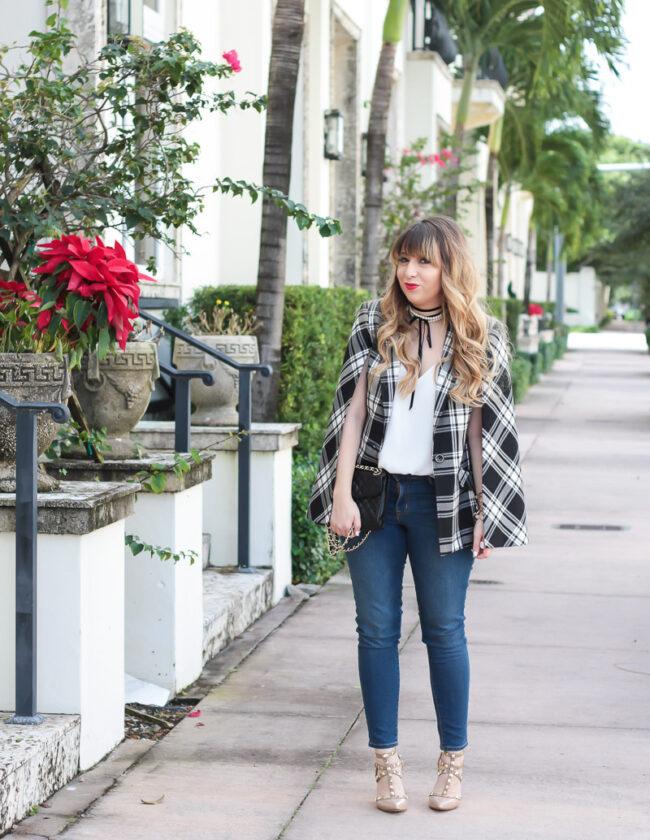 Trina turk plaid cape blazer and jeans