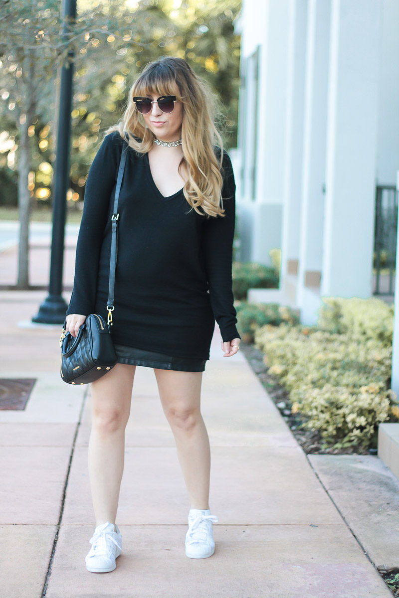 Miami fashion blogger Stephanie Pernas wearing a black sweater and leather skirt