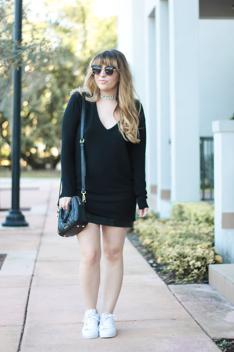 Miami fashion blogger Stephanie Pernas wearing a casual leather miniskirt outfit