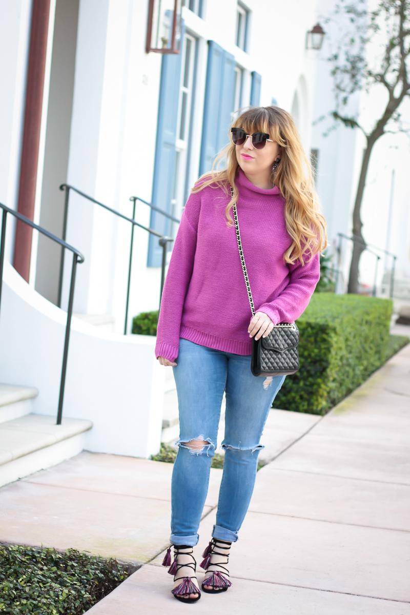 Fuschia Sweater + Jeans + Rebecca Minkoff Tassel Sandals