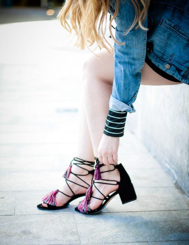 Rebecca Minkoff lace up tassel sandals