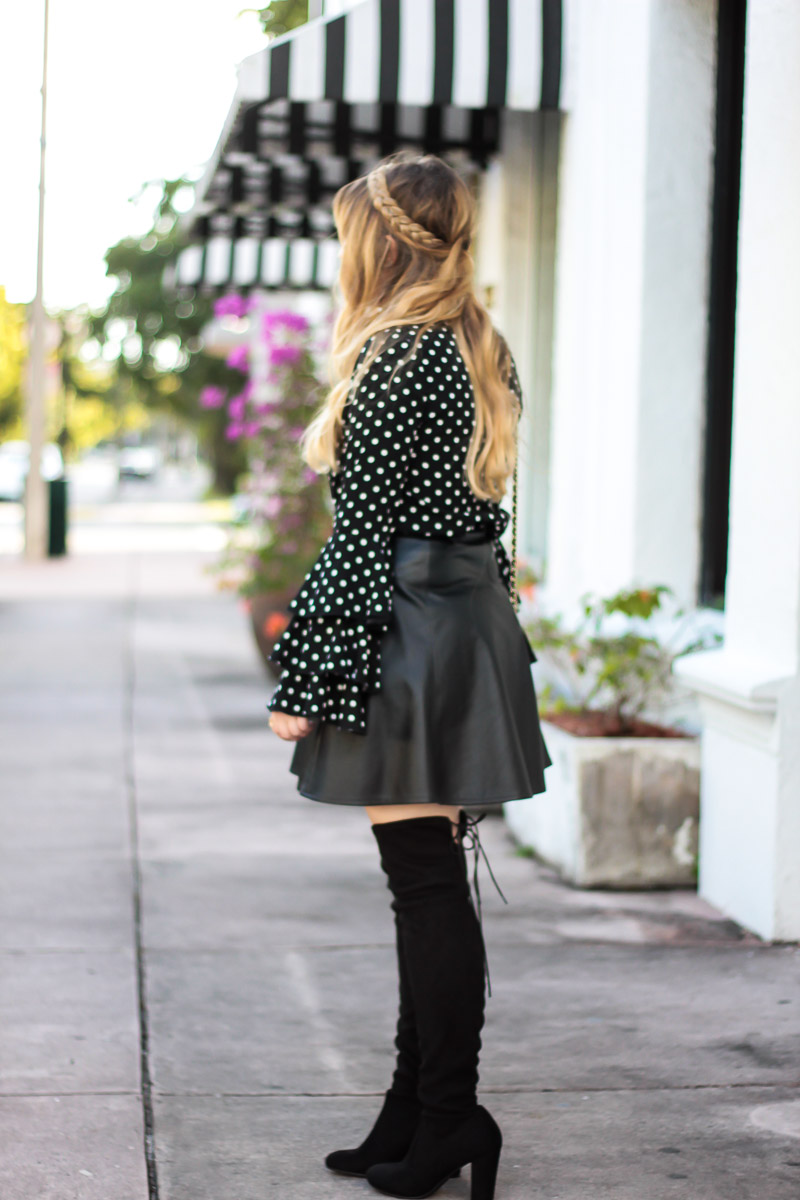 Polka dot ruffle sleeve blouse + leather skirt outfit-3