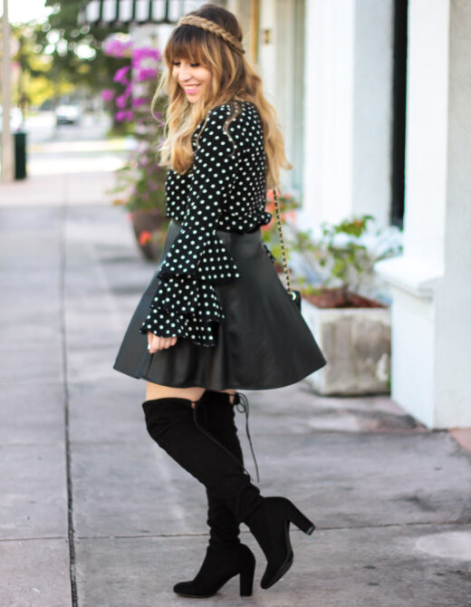 Polka dot ruffle sleeve blouse + leather skirt outfit-8