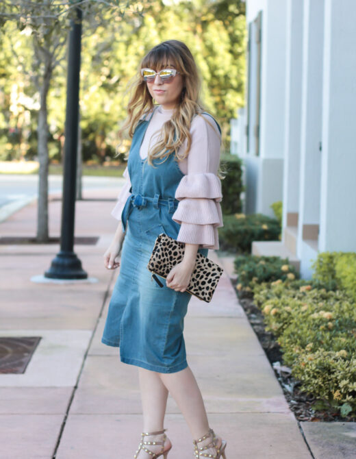 Ruffle Sleeve Sweater + Denim Dress-3