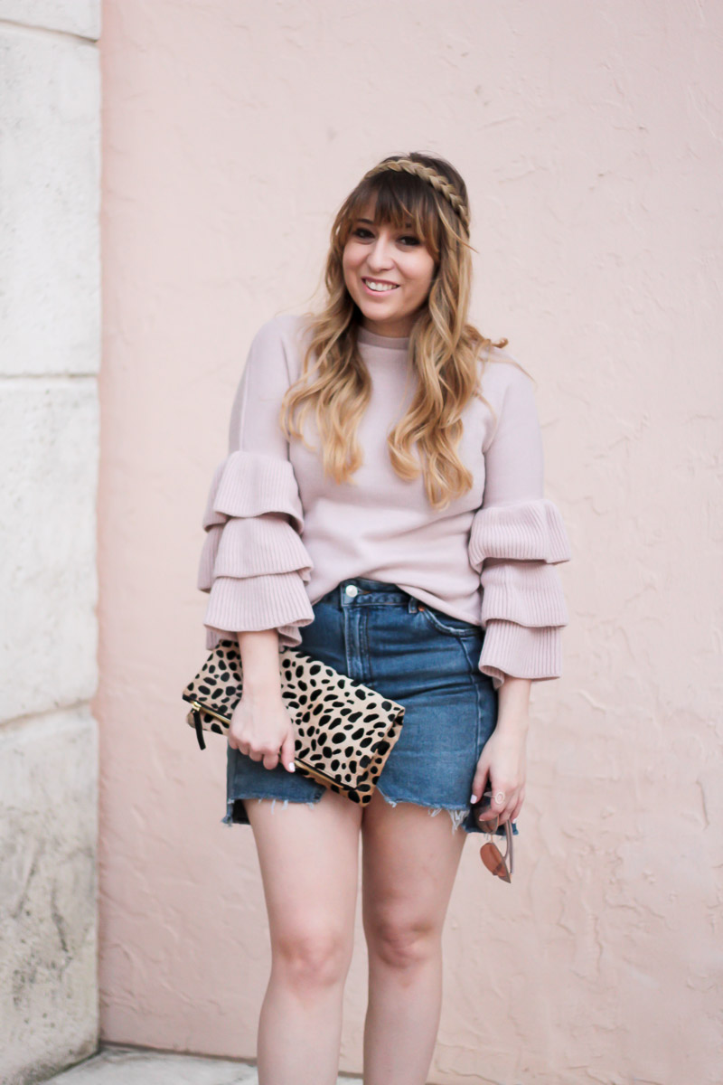 Shein blush ruffle sweater and jean skirt outfit