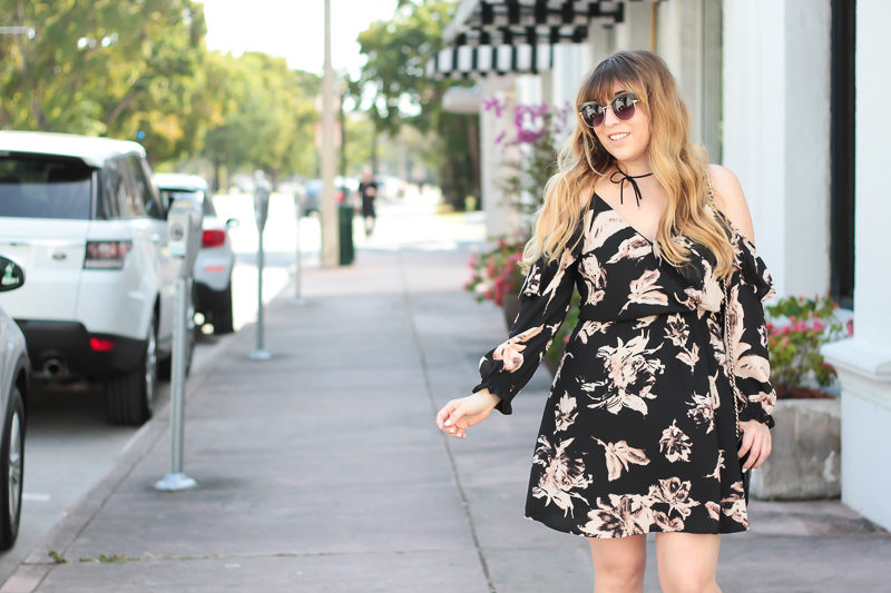 Miami fashion blogger Stephanie Pernas of A Sparkle Factor wearing a Bloomingdale's Aqua cold shoulder dress
