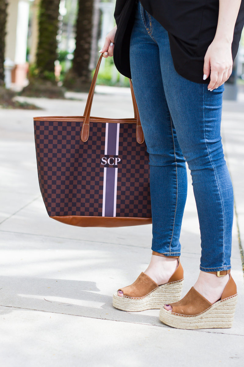 Miami fashion blogger Stephanie Pernas styling a Barrington Gifts St Anne monogram tote with Marc Fisher Adalyn wedges
