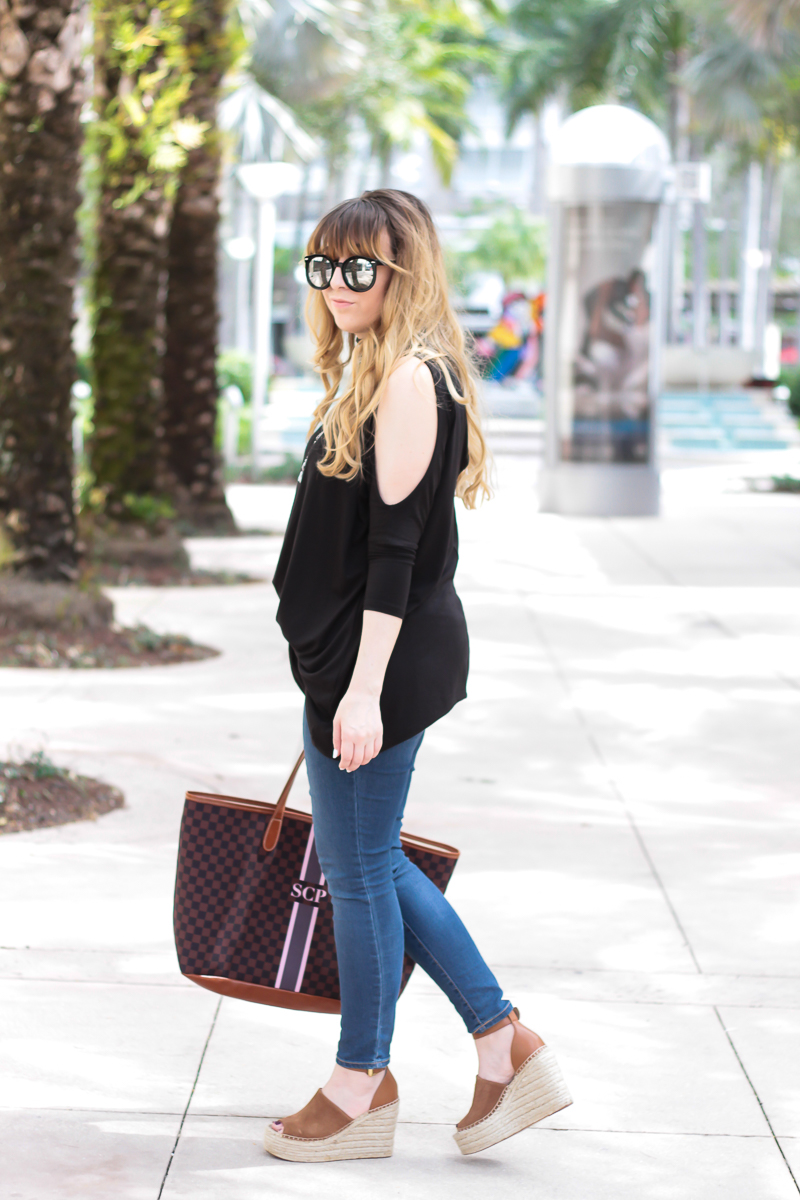 Open shoulder tunic outfit
