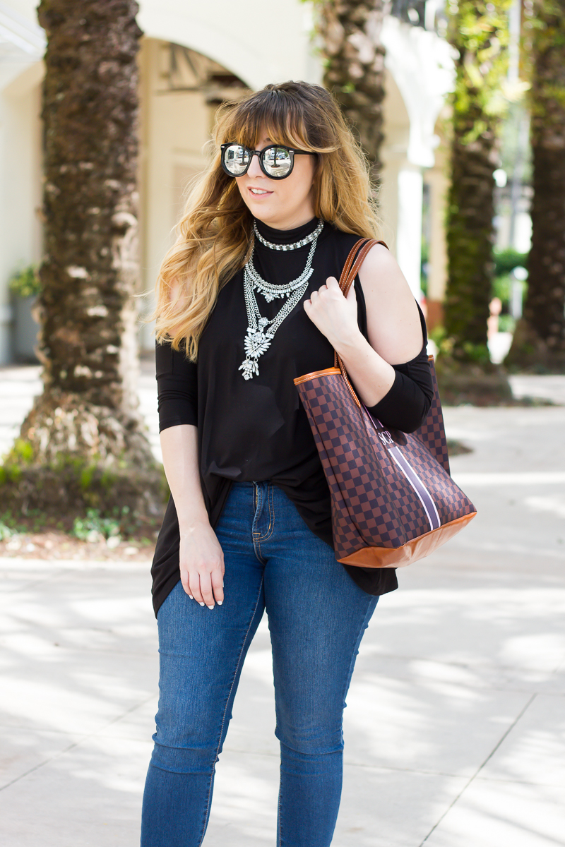 Cold shoulder top, jeans + statement necklace outfit idea-8