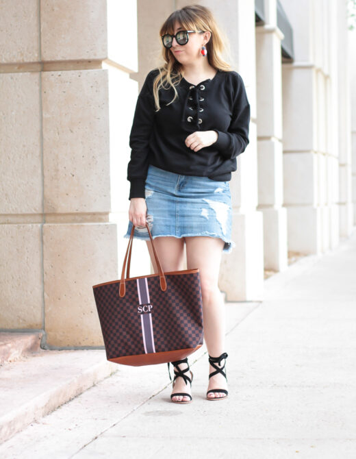 Lace up sweater + jean skirt outfit-5
