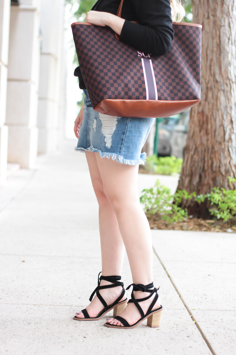 Chinese Laundry Calvary heels and Barrington Gifts St Anne monogram tote
