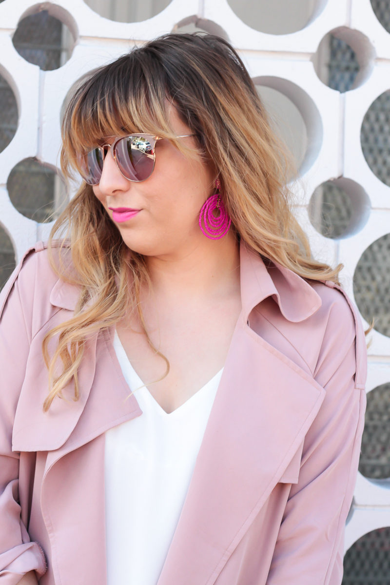 Miami fashion blogger Stephanie Pernas of A Sparkle Factor wearing a pink Forever 21 trench coat and white camisole with hot pink Baublebar earrings