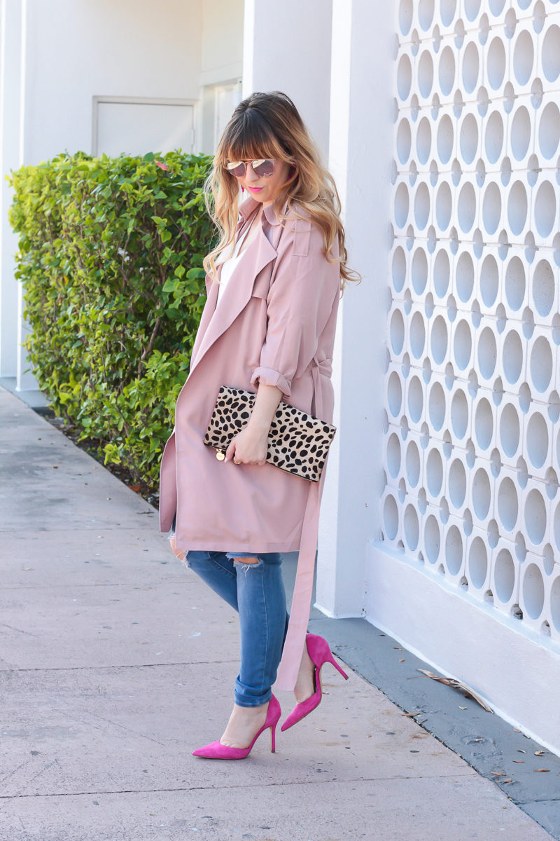 Miami fashion blogger Stephanie Pernas of A Sparkle Factor styles shades of pink for a cute Valentine's Day outfit