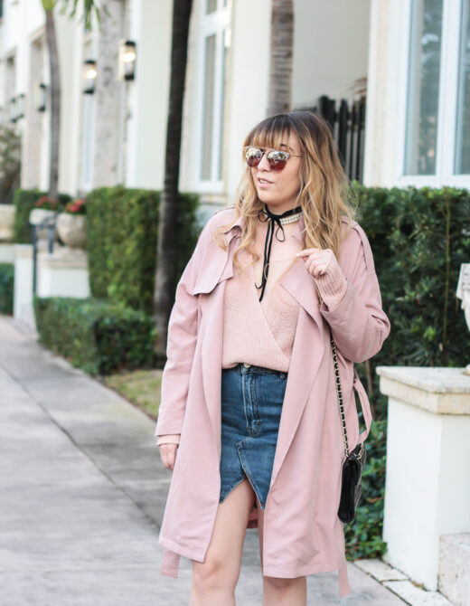 Pink trench coat + jean skirt outfit_-4