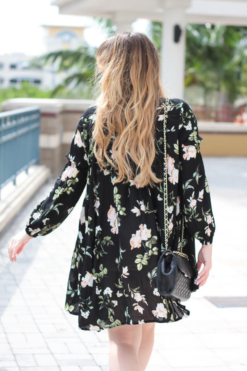 Floral long sleeve dress for spring