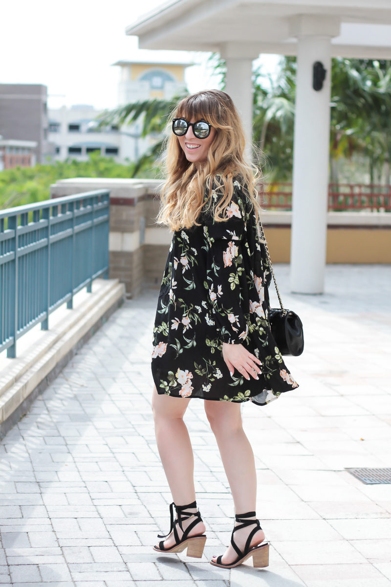 Miami fashion blogger Stephanie Pernas of A Sparkle Factor styles a cute spring dress with Chinese Laundry lace ups for a spring outfit idea