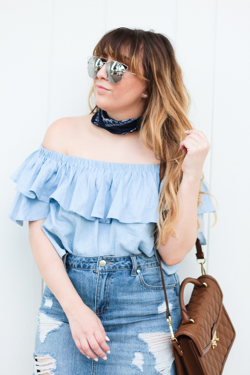 Off the shoulder top and bandana