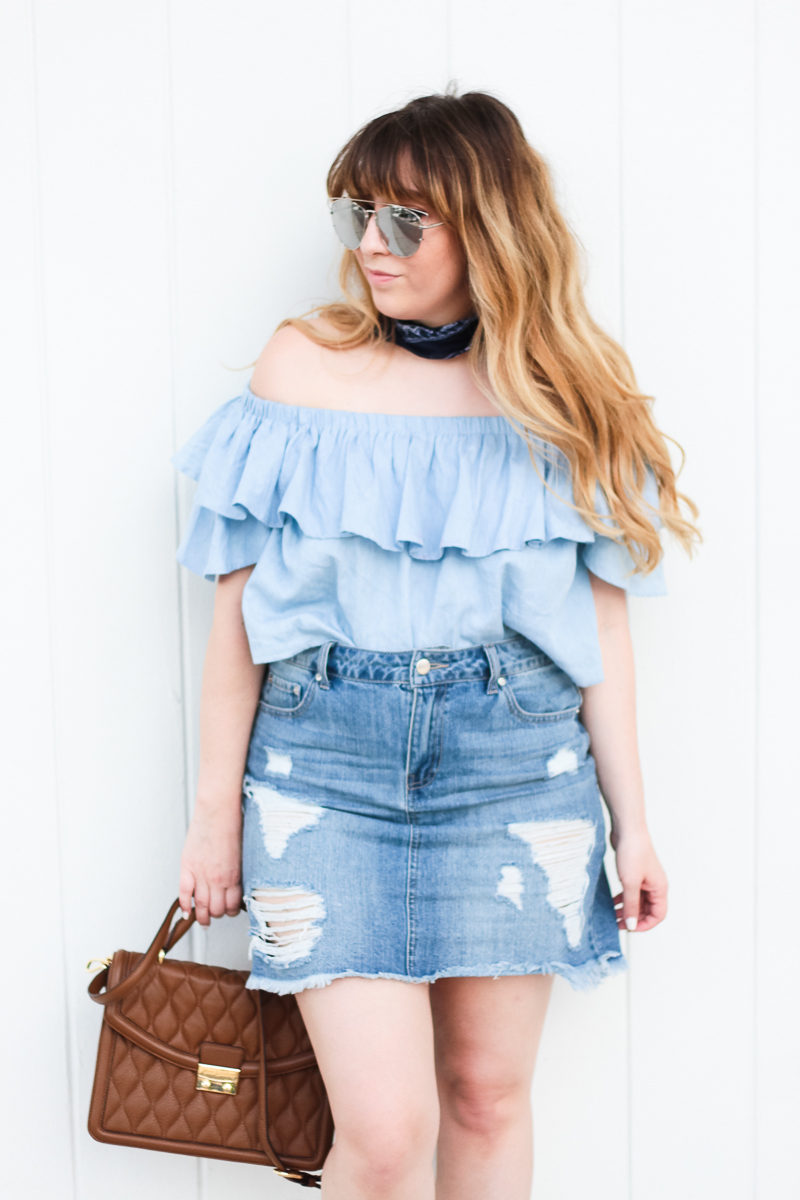 Miami fashion blogger Stephanie Pernas wearing an off the shoulder chambray top and jean skirt