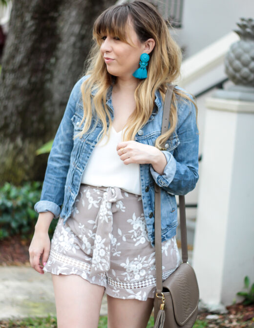 Floral Shorts + Jean Jacket outfit-4