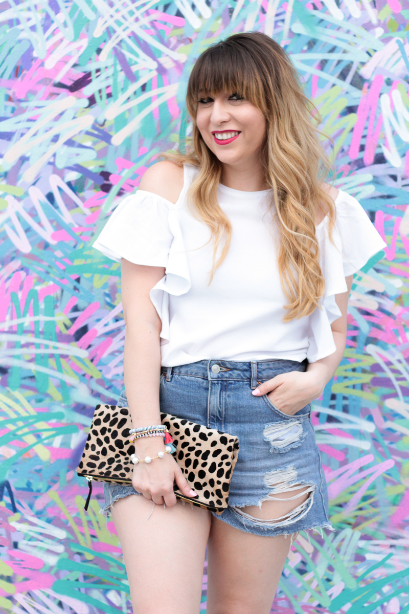 Flutter Sleeve Top + Jean Shorts outfit