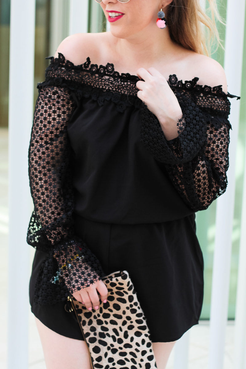 Miami fashion blogger Stephanie Pernas styles an off the shoulder lace romper