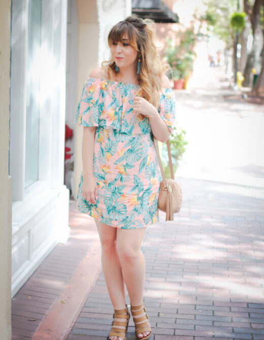 Cute pink palm print dress