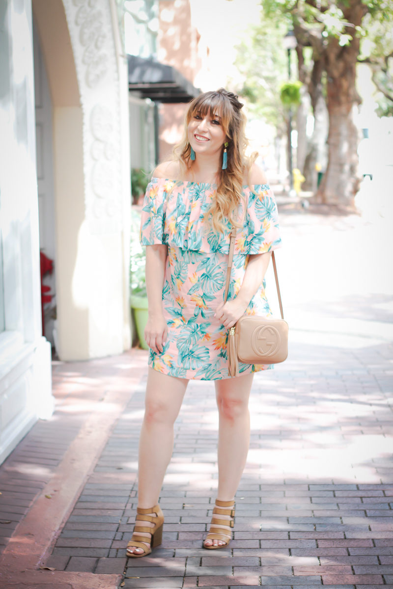 Miami fashion blogger Stephanie Pernas styles a Forever 21 off the shoulder pink palm print dress for a cute outfit idea for spring break