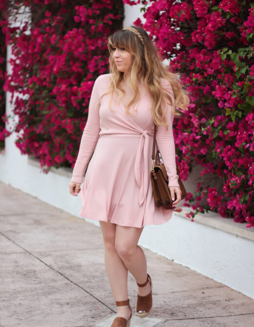 Pink knit dress outfit idea
