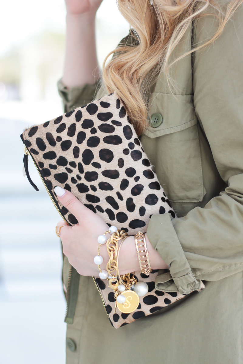 Outfit with pop of leopard