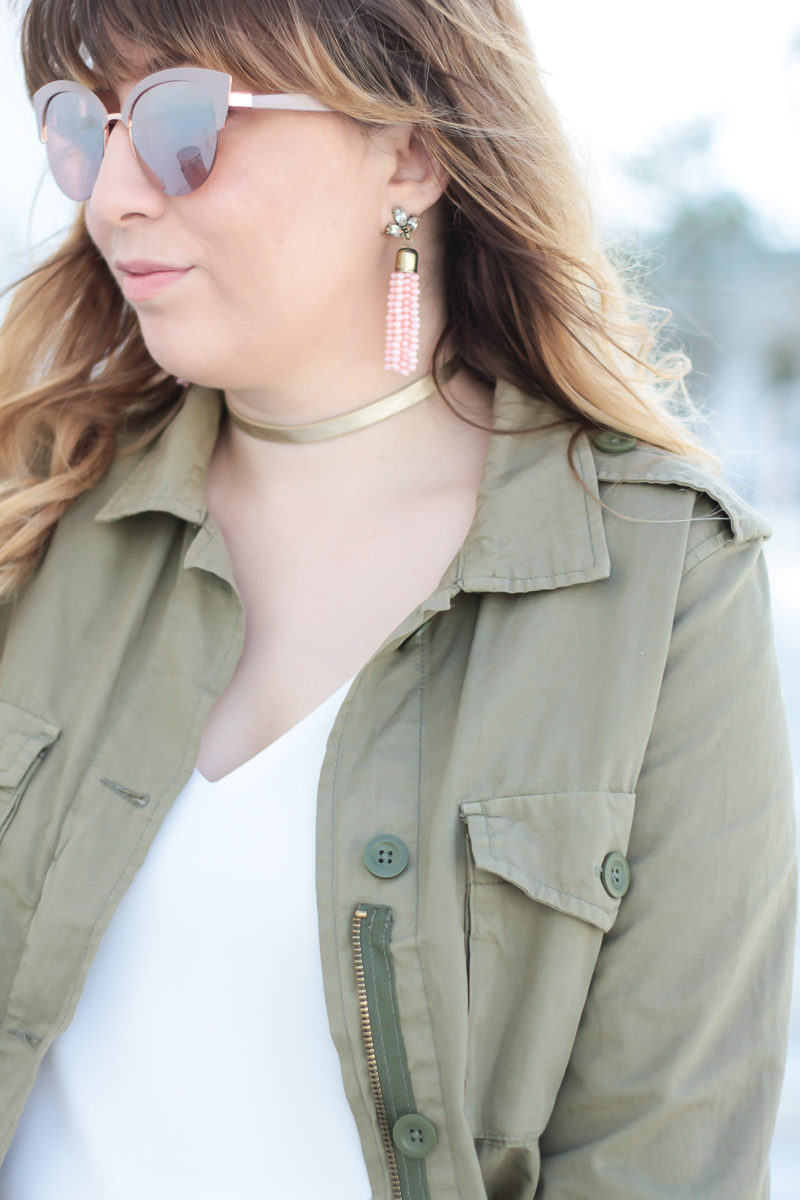 Miami fashion blogger Stephanie Pernas wearing Sugarfix pink tassel earrings