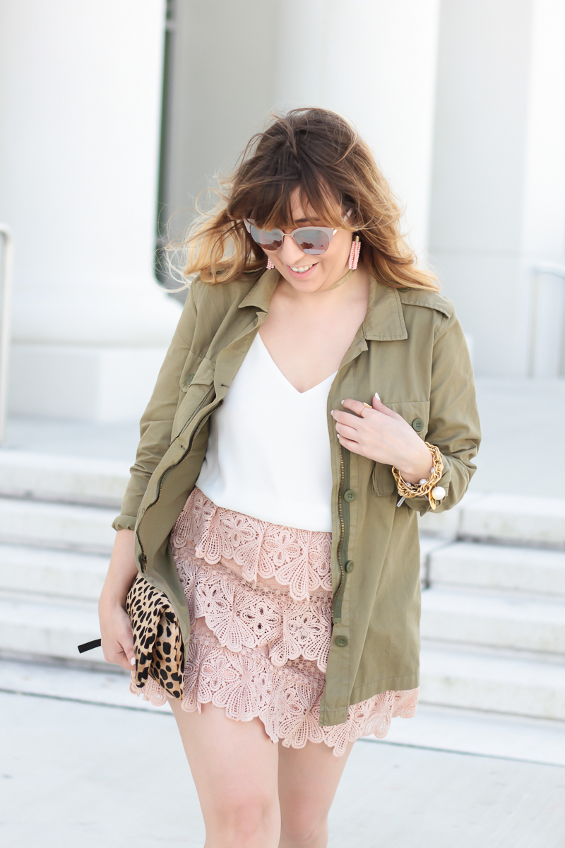Pink lace skirt, cami, and utility jacket_-3