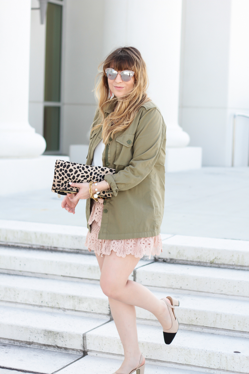 Pink lace skirt, cami, and utility jacket_-5