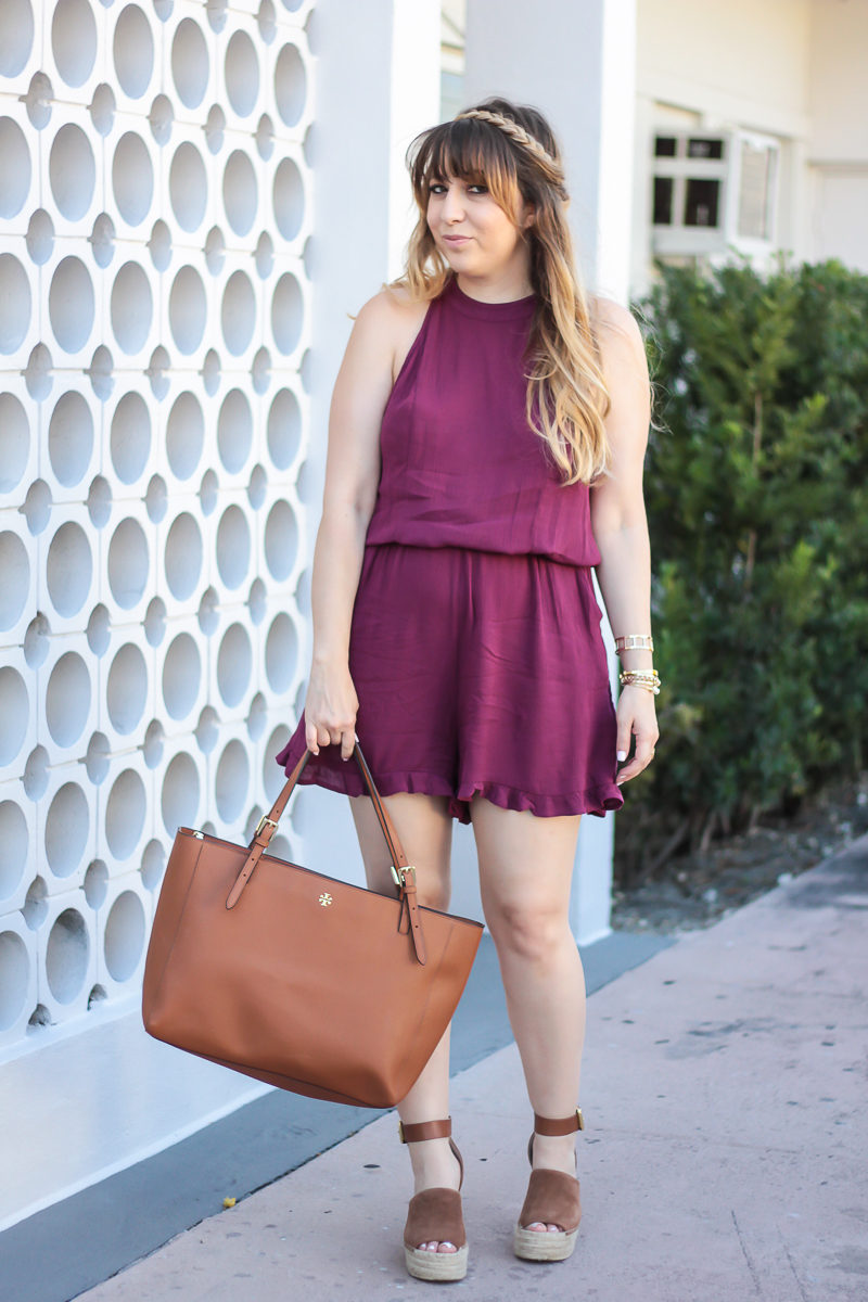Miami fashion blogger Stephanie Pernas styles a boho chic romper outfit for spring