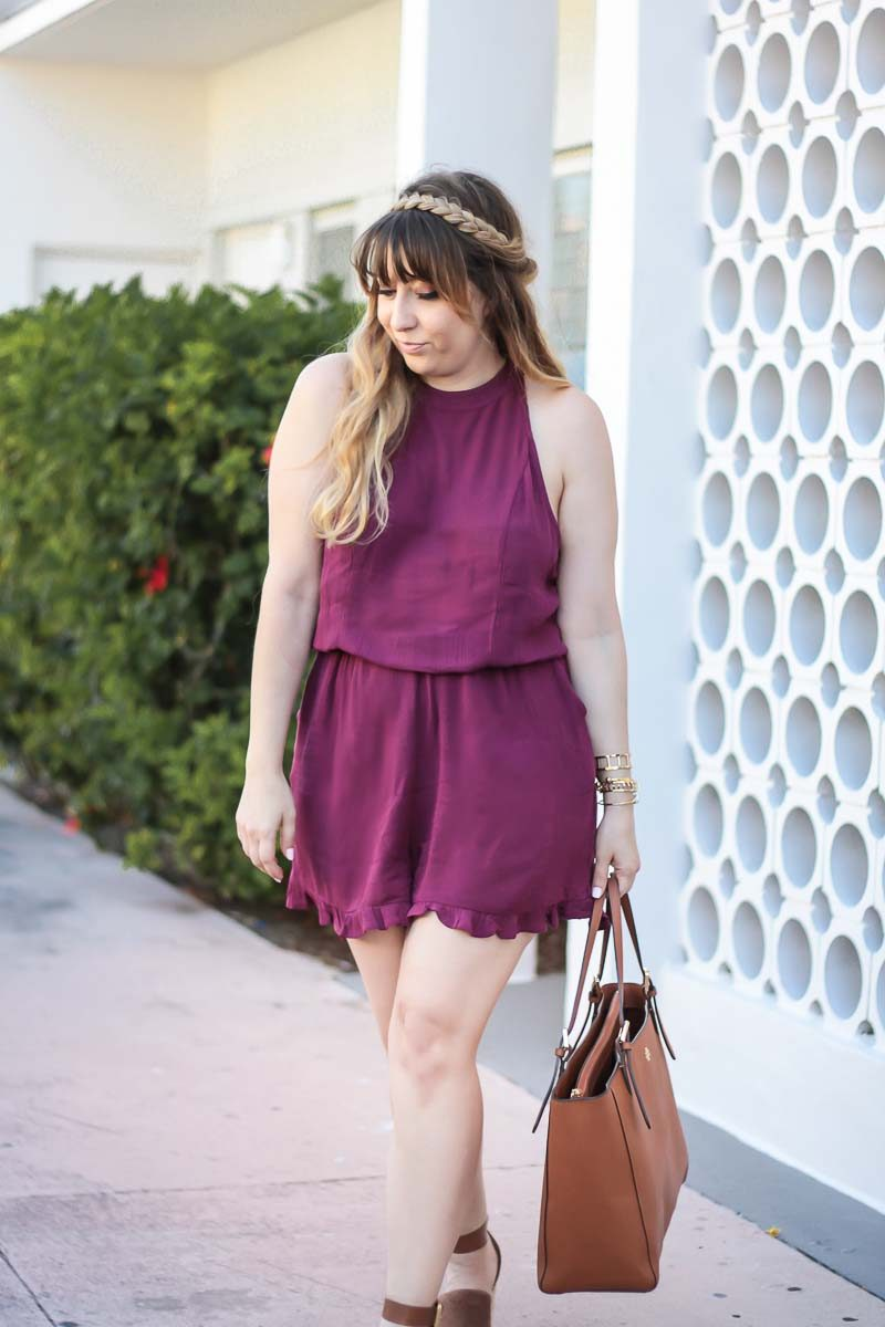 Miami fashion blogger Stephanie Pernas wearing a purple romper
