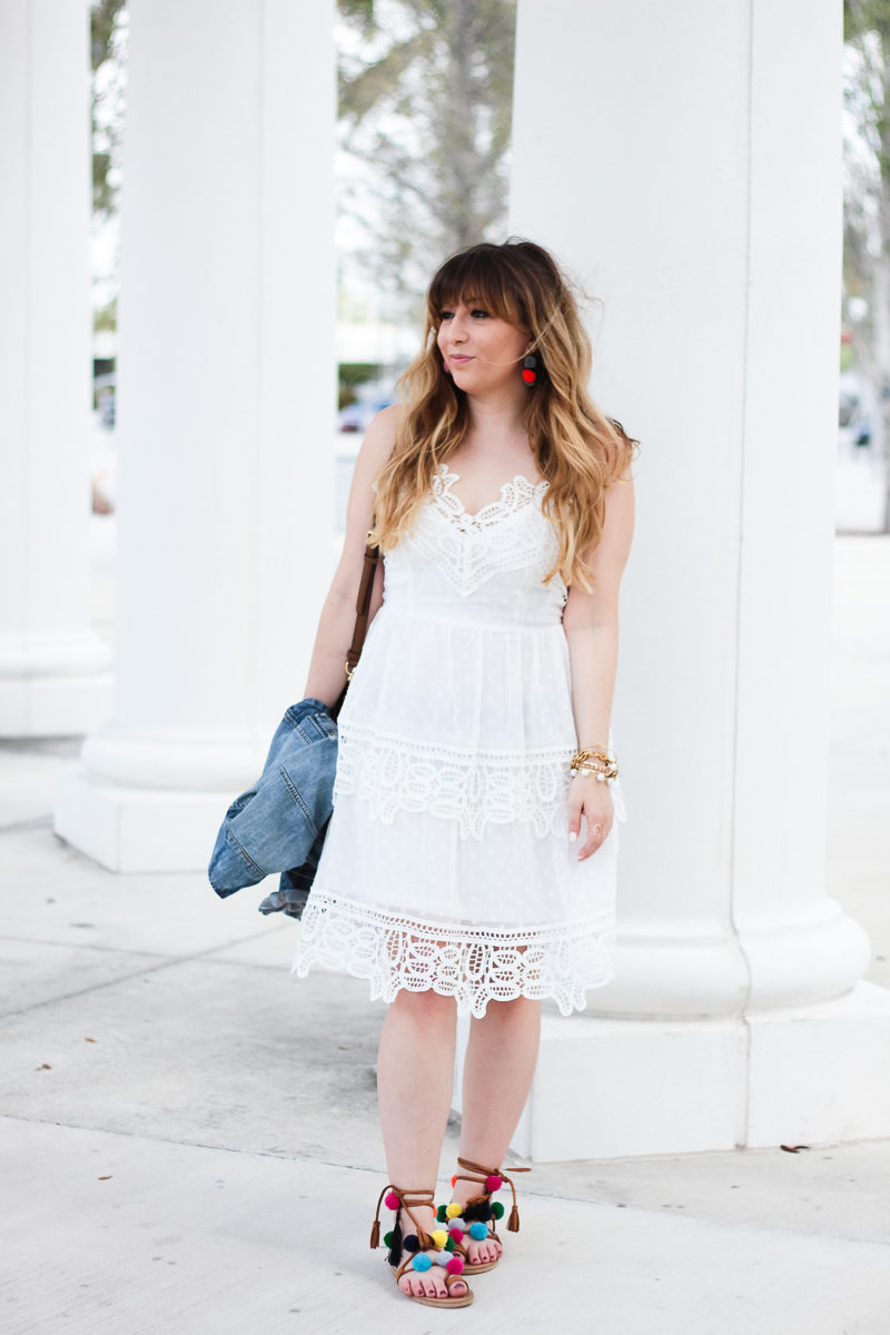 Miami fashion blogger Stephanie Pernas wearing a cute spring lace trim dress
