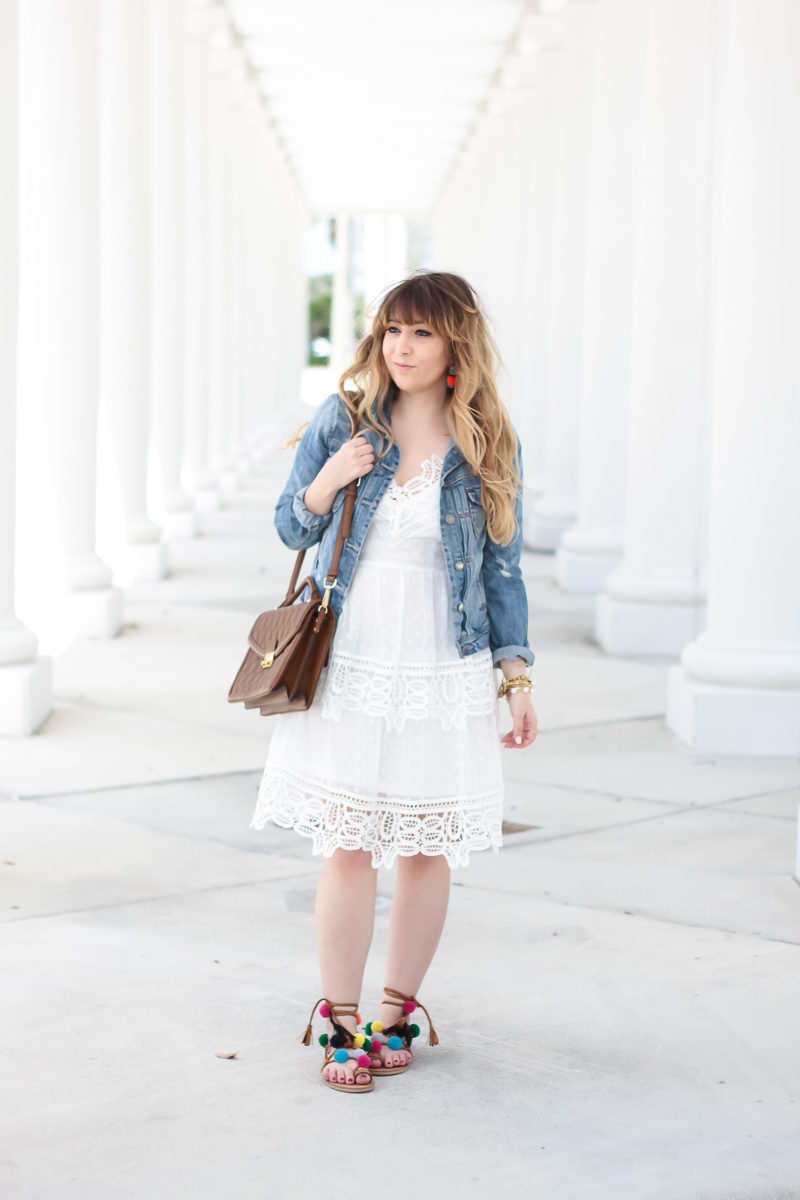 Miami fashion blogger Stephanie Pernas wearing a tiered white lace dress to get the Self Portrait dress look for less