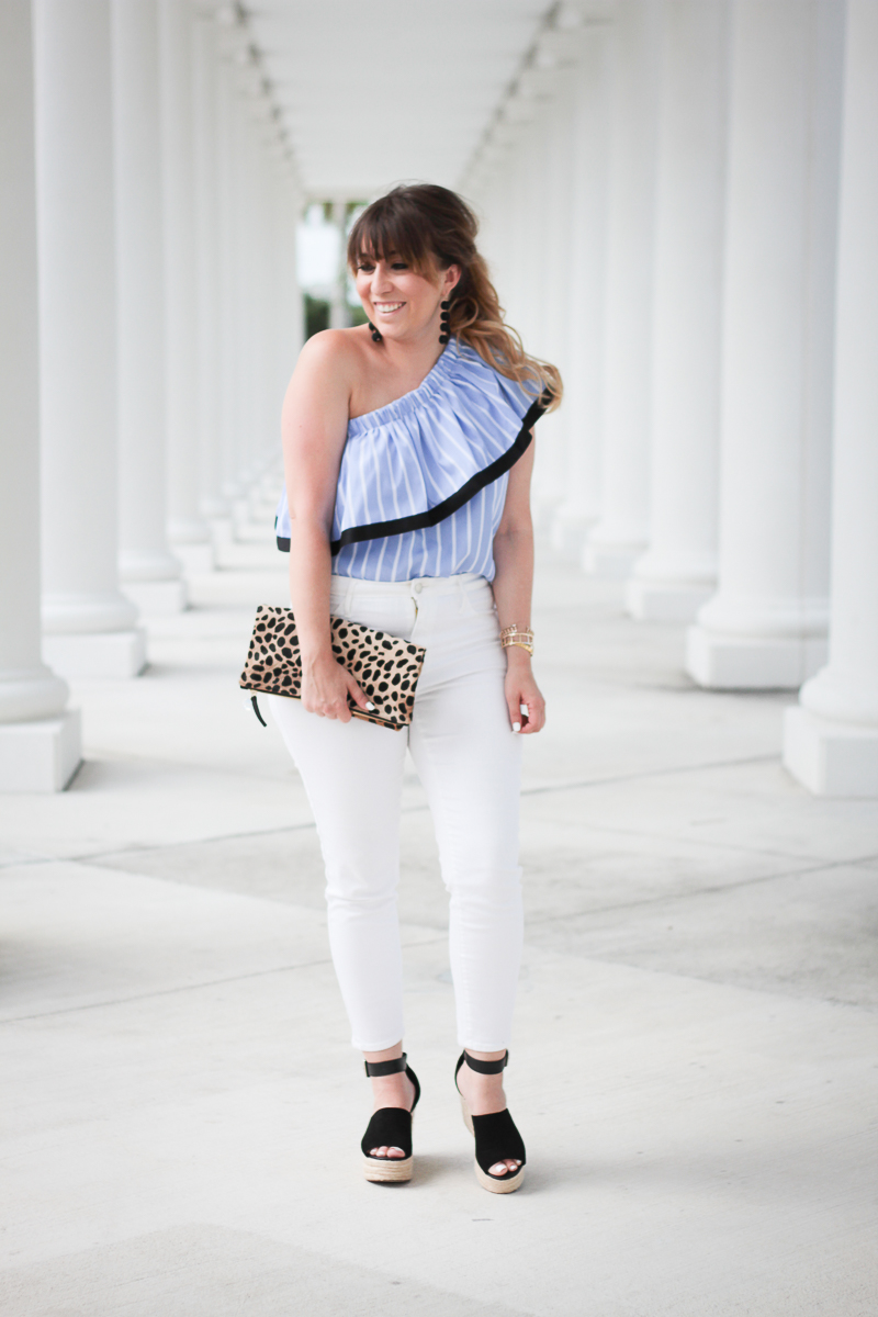 Blue stripe one shoulder top + white jeans outfit-6