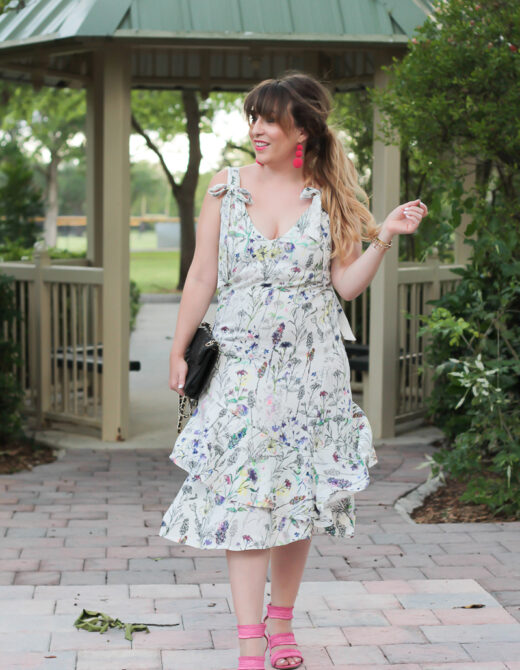 H&M floral tie shoulder midi dress-11