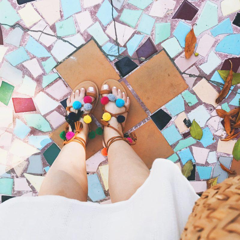 Miami fashion blogger Stephanie Pernas wearing Goodnight Macaroon pom pom sandals