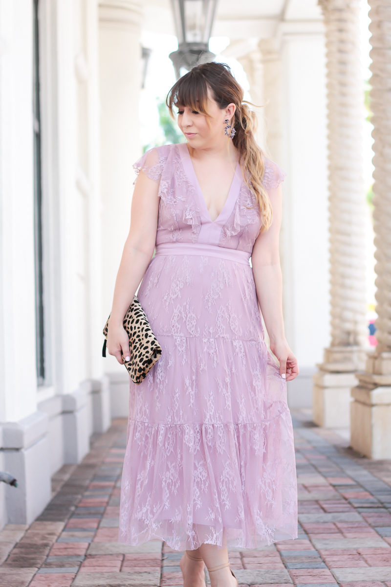 Miami fashion blogger Stephanie Pernas styles a lilac lace midi dress for a cute Easter outfit idea