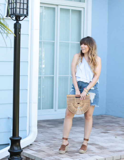 Blue stripe one shoulder top and jean skirt outfit for spring-2
