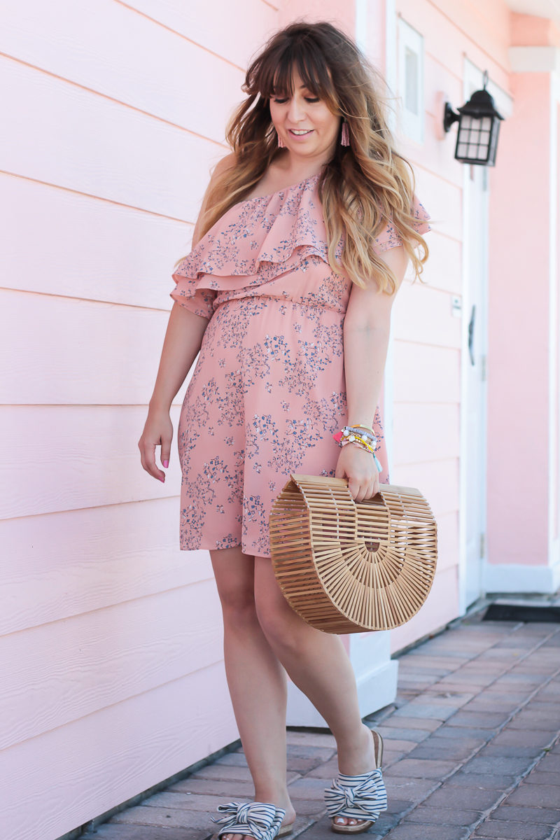 Miami fashion blogger Stephanie Pernas wearing a Lush floral one shoulder dress