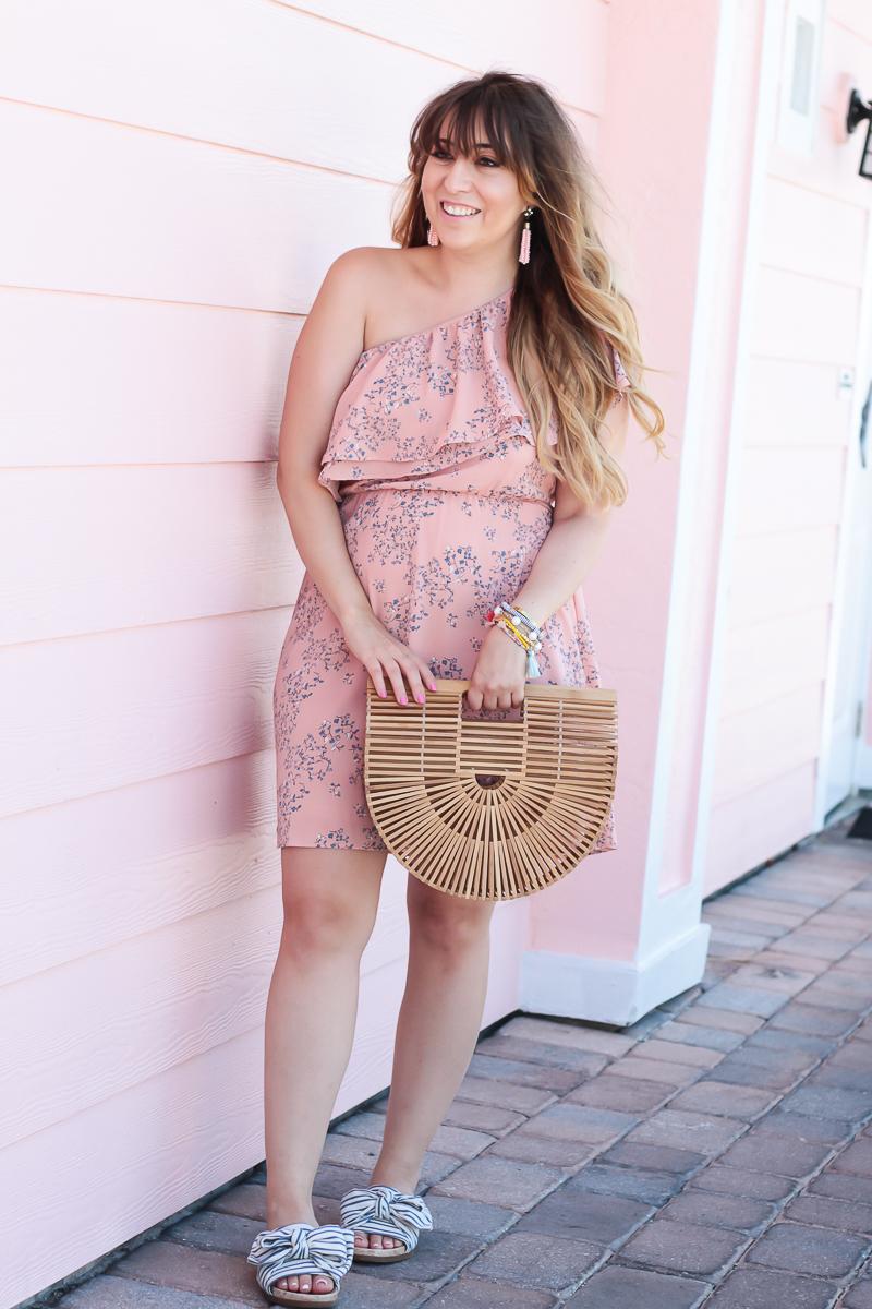 Lush pink one shoulder floral dress-3