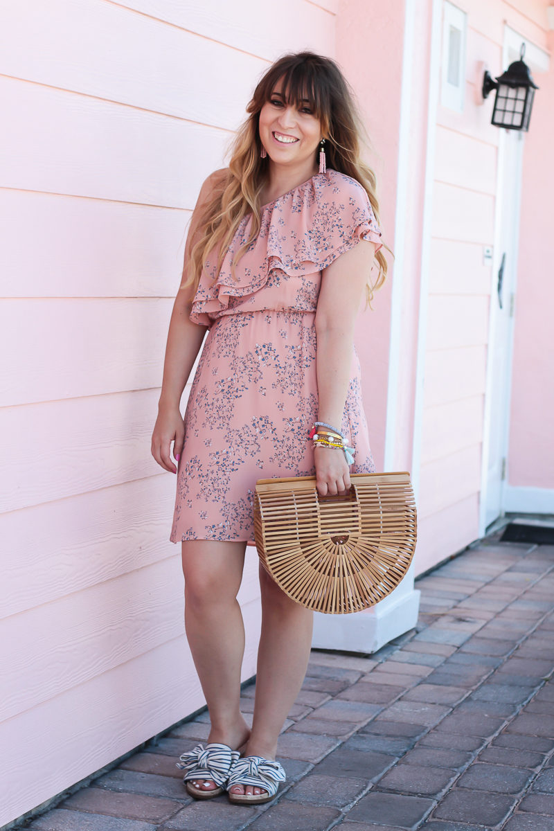 South Florida fashion blogger Stephanie Pernas styles a pink floral dress for spring